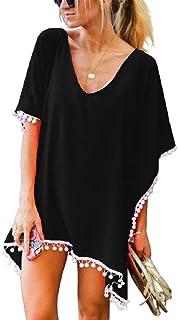 Robe de Plage Femme Courte Tunique Tenue Caftan de Plage Robe Maillot de Bain Bikini Cover Up Mousseline de Soie Kaftan Sortie de Plage Chemise Pareo Plage Poncho Legere Fluide Grande Taille Ete