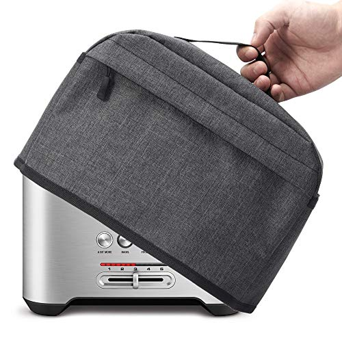 VOSDANS 2 Slice Toaster Cover with Zipper & Open Pockets Kitchen Small Appliance Cover with Handle, Dust and Fingerprint Protection, Machine Washable, Dark Grey (Patent Design)
