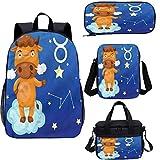 Zodiac Tauro - Mochila de 43 cm con bolsa de almuerzo, juego de estuche,...