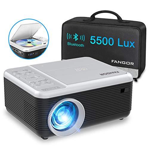 Videoprojecteur Bluetooth avec Lecteur DVD, FANGOR Projecteur 1080P Supporte Protable Full HD...