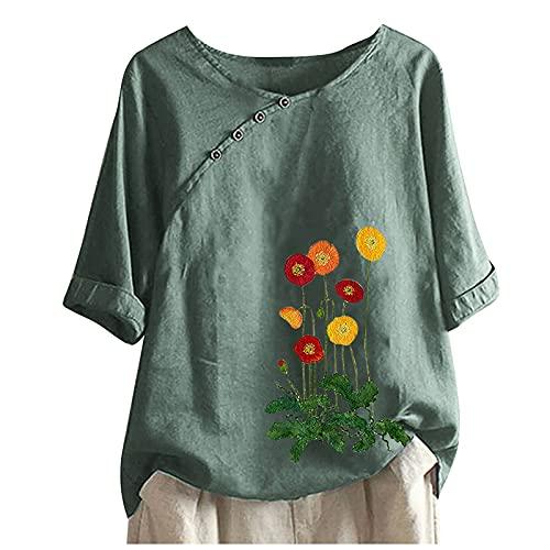 AMhomely Camisas y blusas para mujer, para verano, casual, cuello redondo, manga corta, estampado de flores, blusa para oficina, talla Reino Unido
