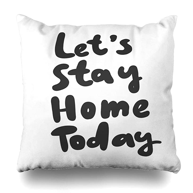 GisRuRu Throw Pillow Cover English Lets Stay Today 39 for Social Media Post Words Bubble Comic Doodle Sketch Blogging Video Home Decor Pillowcase Square Size 16 x 16 Inches Zippered Cushion Case