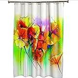 Duschvorhang Badewanne Gelbgrüne Blüten Duschvorhang Wasserdicht/Antischimmel Badewanne Vorhang mit 12 Haken, 120CM X 180CM