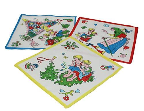 Betz Lot de 12 mouchoirs pour Enfant à Motif féerique Jeannot et Margot 26 x 26 cm en 100% Coton, Dessin 7