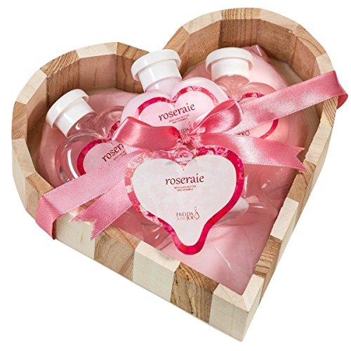 Rosa: rosa, due tonalità naturale legno cuore basket Roseraie'bagno e corpo spa Gift set.