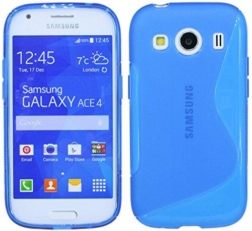Samsung Galaxy Ace 4G357FZ//Silicona Móvil Bumper Carcasa Funda De Silicona En Azul...