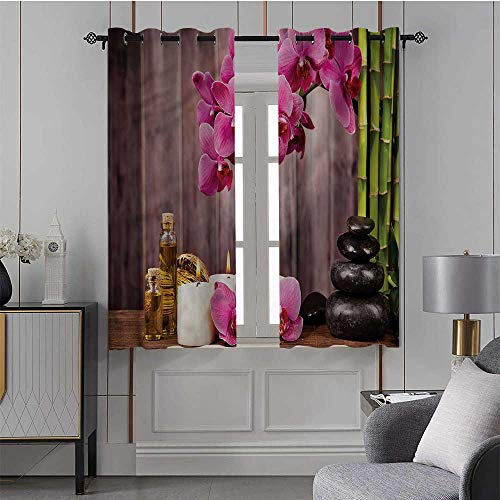 Youdeem-tablecloth Spa, Room Darkening Thermal Insulated Curtain Orchid Flowers Rocks Bamboo All Season for Kid's Room, Set of 2 Panels (31.5 x 72 Inch)