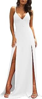 TOB Women's Sexy Sleeveless Spaghetti Strap Backless Split Cocktail Long Dress
