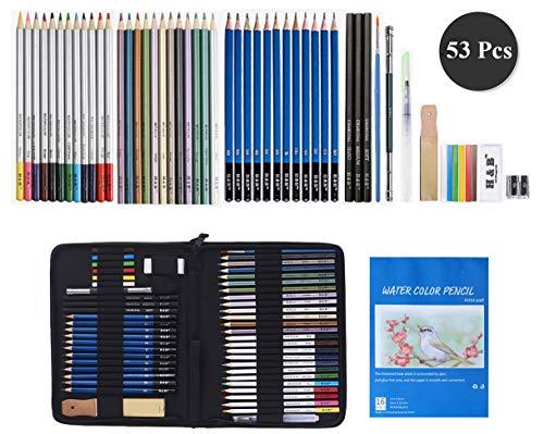 WOMGF Buntstifte Set 53 Stück Bleistift Zeichnen Set Farbstifte mit Skizzenbuch Skizzierstifte für Kinder, Anfänger,Künstler