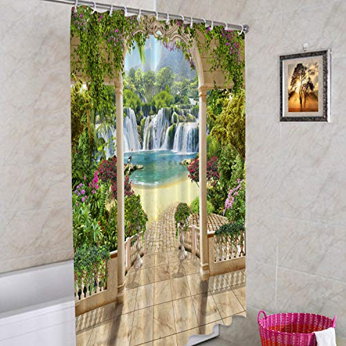 Batmerry Waterfall Sea Flowers Decorative Shower Curtain, Lovely Flower Garden Shower Curtain Cute Long Wide Shower Curtain with Rust Proof Grommets for Bathroom Farmhouse Bathtub Waterproof Washable