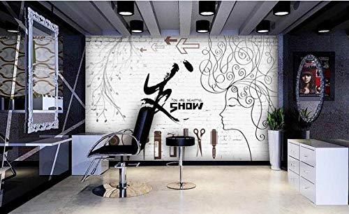Muurschildering wallpaper poster persoonlijkheid bakstenen muur trend kappers schoonheid salon foto behang 250 cm x 175 cm