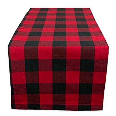 DII Cotton Buffalo Check Table Runner for Family Dinners or Gatherings, Indoor or Outdoor Parties, Everyday Use (14x108, Seats 8-10 People), Red & Black