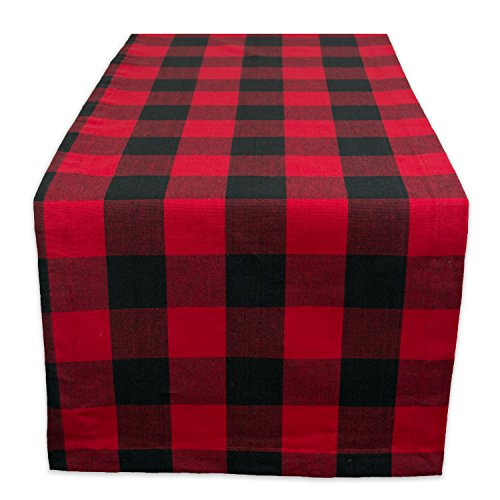 DII Classic Buffalo Check Tabletop Collection for Family Dinners, Special Occasions, Barbeques, Picnics and Everyday Use, 100% Cotton, Machine Washable, Table Runner, 14x72, Red & Black