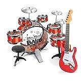 WZHZJ Principiante instrumentos musicales conjunto de juguete, 6 Drum Set, 3 platillos Kit Niño con los palillos de heces y de la guitarra electrónica, regalo de cumpleaños de la muchacha del muchacho