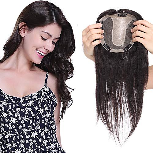 Hair Topper Donna Capelli Veri Clip Toupet Toupee Umani Extension Indian Human Hair Remy Parrucca Centro Silk Top 15cm x 16cm 120% Density Protesi 25cm 57g #1B Nero Naturale