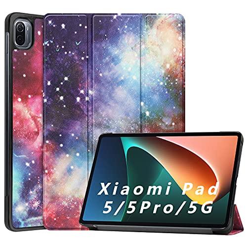 NOKOER Funda para Xiaomi Pad 5/5 Pro, Super Delgada Soporte Triple con Función Leather Cover, Inteligente Case [Antideslizante] [Huella Digital Anti] Protección de 360 Grados - Galaxia