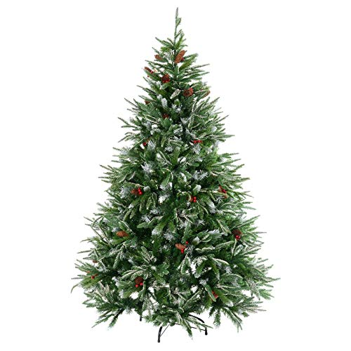 Mr Crimbo 6ft (180cm) Green Artificial Snowy Christmas Xmas Tree Decorated With Red Berries &...