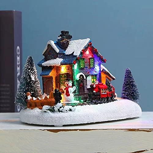 SDENSHI Navidad Invierno Nieve Paisaje Pueblo Casa Tren con Led Luz Up Accesorios de Navidad Festival de Vacaciones Decoración de Vacaciones Amigo Regalo