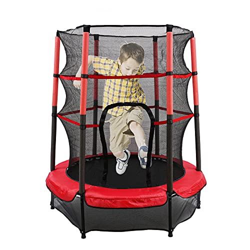 Cama elástica niños de jardín, 55 pulgadas Mini cama elástica de exterior e interior, con red de seguridad, plegable, cama elástica para niños 140 cm, máximo 50 kg, herramientas de ejercicio (rojo)