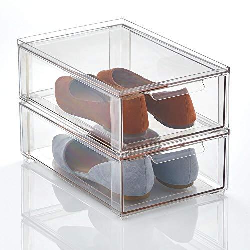 mDesign Aufbewahrungsbox mit Schublade – flache Schubladenbox aus Kunststoff zur Schuhaufbewahrung...