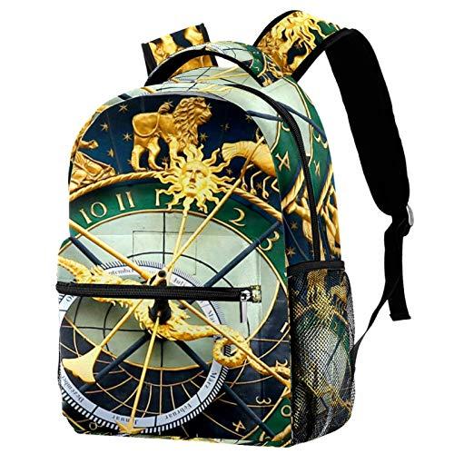 LAZEN Mochila clásica escolar Mochila de viaje ligera Mochila para portátil para mujeres Adolescentes Hombres Reloj astronómico Retro