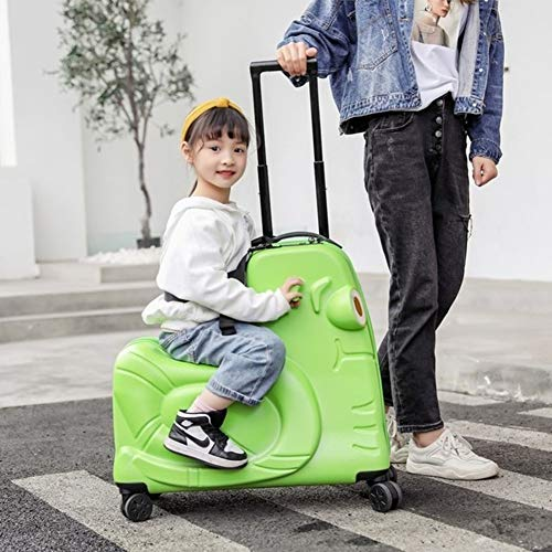 AAGYJ Children's LuggageChildren's Riding Box, Influencer Travel Suitcase, Fashion Luggage Bag, Student Trolley Boarding Suitcase, Toy Box,Green,20inch