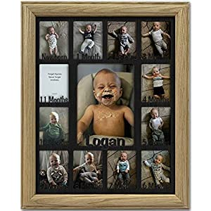 Northland Baby First Year Personalized Frame – Holds Twelve (12) 2.5″ x 3.5″ Newborn Nursery Decor Photos and 5″ x 7″ One Year Picture, Unfinished Frame, Black Mat, Customizable Name – 11×14