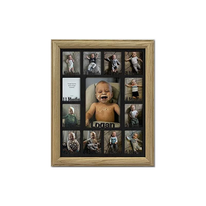 """crib bedding and baby bedding northland baby first year personalized frame - holds twelve (12) 2.5"""" x 3.5"""" newborn nursery decor photos and 5"""" x 7"""" one year picture, unfinished frame, black mat, customizable name - 11x14"""