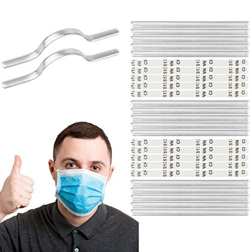Your Day Mate [25 Pack, Klebbare Nasenbügel, Spezial Textil-Kleber, 90 x 5 x 0.8 mm, Selbstklebende Nasenbügel aus Aluminium zum Aufkleben, für DIY Atemschutzmasken, Nasendraht Maske, Nasenrücken