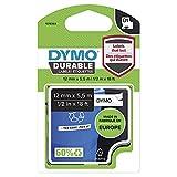 Dymo D1 cinta de etiquetado resistente para LabelManager rotuladoras, cinta con impresión en negro y fondo blanco, 12 mm de ancho x 5,5 m de largo (1978364)