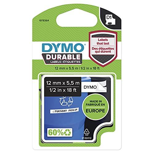 DYMO D1 Hochleistungs-Etikettenband | schwarz auf weiß |12 mm B x 5,5 m L | für LabelManager-Beschriftungsgerät | authentisches Produkt