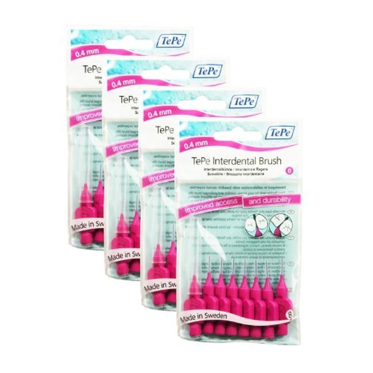 ハイランド損失不変TePe Interdental Brushes 0.4mm Pink - 4 Packets of 8 (32Brushes) by TePe [並行輸入品]