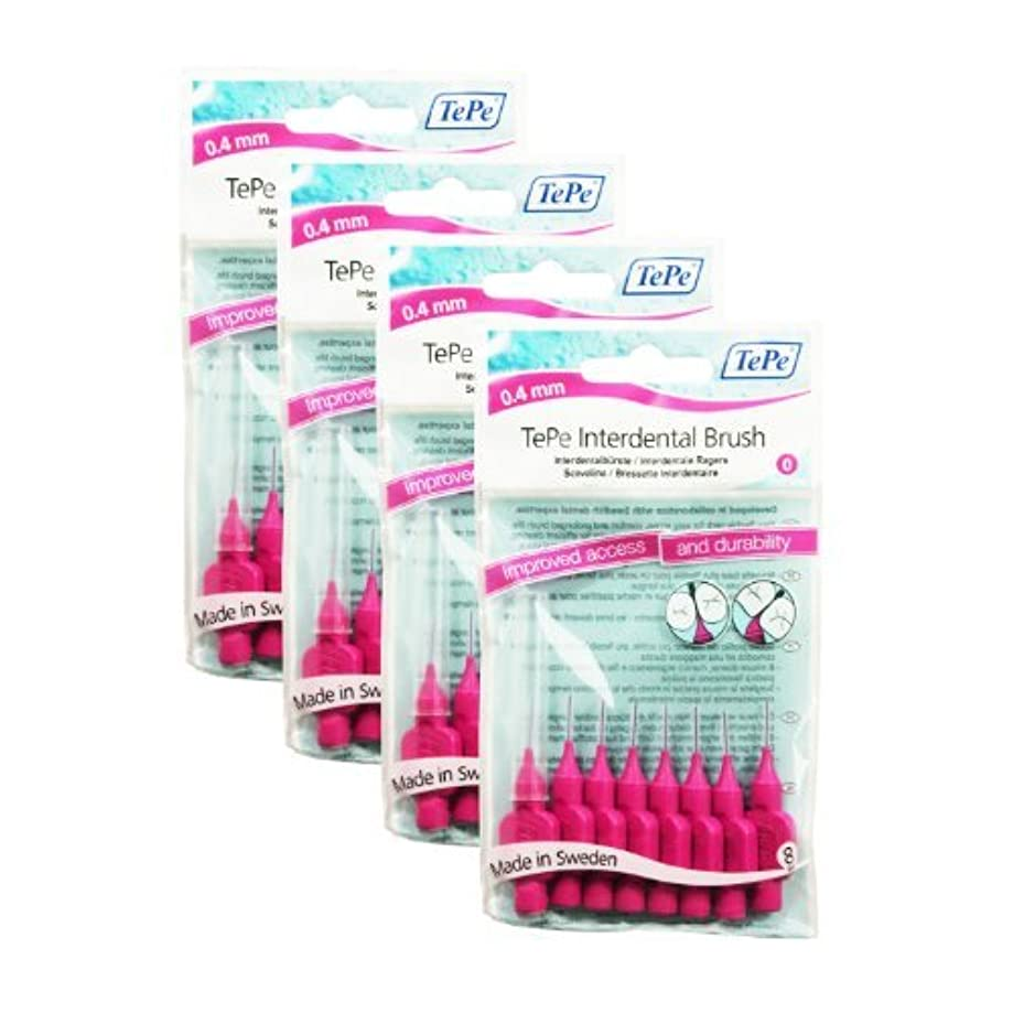 水を飲む聖人りTePe Interdental Brushes 0.4mm Pink - 4 Packets of 8 (32Brushes) by TePe [並行輸入品]