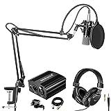 Neewer NW-700 Pro Micrófono Condensador (Negro/Plateado) y Kit de Auriculares de Monitor con 48V Fuente Alimentación Phantom, Soporte de Brazo de Tijera NW-35 Boom, Montaje de Choque y Filtro Pop