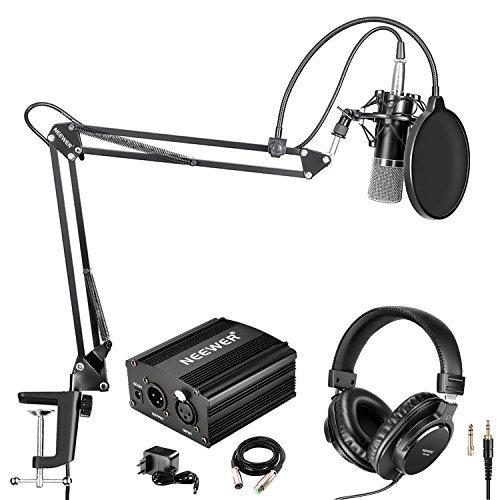 Neewer NW-700 Pro Condensatormicrofoon (zwart/zilver) en monitor hoofdtelefoonset met 48 V fantoomvoeding, NW-35 arm…