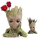 Homened Baby Groot Maceta, Groot Flower Pot Guardianes de la Galaxia Figura Groot Maceta y Caja de Lápices Plumas para Niña Niños Juguete