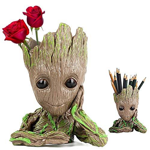 Creative Groot Planter – Cute Baby Groot Pen Pot Groot Action Figures Pen Holders – Groot Flowerpot Baby Model Toy is Best Birthday Gift