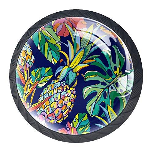 Perillas redondas para aparador (4 piezas) – Colorido decorativo floral cajón manija de decoración del hogar perillas de tirones, piña azul marino