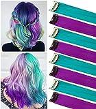 FAIRY COLOR 8PCS Purple Teal Haripieces Estensioni dei capelli colorate Clip in / on Girls Dolls Parrucca Pezzi Accessori per capelli colorati per bambini
