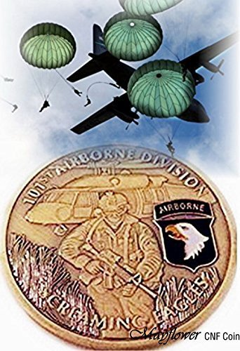 Mayflower CNF Coin &Leather Holder - U.S Army 101st Airborne Division, Screaming Eagles, Salute to Our Heroes, Fight for Freedom