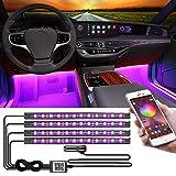 YiLaie Luci per interni auto, Bluetooth App Musica Sync RGB LED striscia di luci interne auto con accendisigari auto Multi Colorato cruscotto luci Neon Ambient Kit per auto