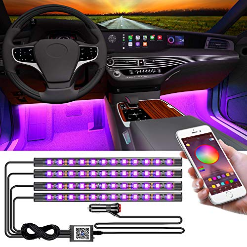 YiLaie - Luces interiores de coche, con aplicación Bluetooth para...