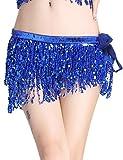Gardenwed Femme Ceinture Danse Orientale Danse du Ventre Foulard à Sequin Belly Dance pour Practice Costume Déguisement en Bleu Royal Jupe Mini Femme Sexy Royal Blue