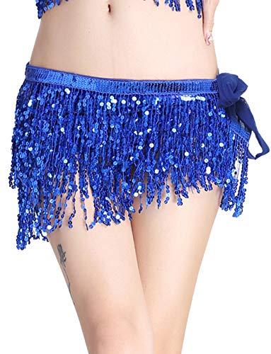 Gonna Donna Danza del Ventre Sciarpa Hip Festa di Carnevale, Mini Club, Cintura in Vita Vestito da Ballo Blu Reale