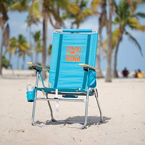 Silla Alta de Playa Tommy Bahama Plegable. Reposabrazos de Madera. Ref 2000995 Turquesa