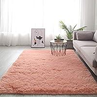 スーパーソフトと快適 じゅうたん,毛深い 絨毯,モダン シャグ ラグ (ベッドルーム リビングルーム用),子供の保育園の女の子ホーム装飾のためのスクエアカーペット-オレンジピンク 80x160cm(31x63inch)