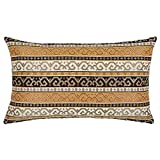 pillowerus Tapestry Gobelin Mustard Yellow-Black 12'x20' Lumbar Pillow Cover Sham Slipcover Ethnic Kilim Southwestern Pattern Throw Decorative for Home Decor, Sofa, Couch, Porch, Patio, Chair