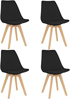 vidaXL 4X Sillas de Comedor Asiento Mobiliario Muebles Cocina Salón Sala de Estar Escritorio Acolchado Suave Respaldo Decoración de Tela Negra