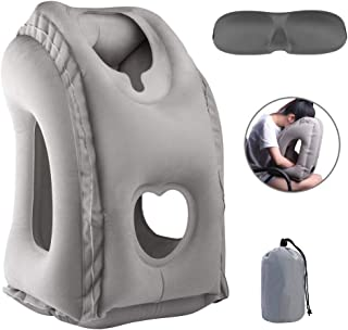 Olele Inflatable Neck Pillow Used for Airplanes/Cars/Buses/Trains/Office Napping with Free Eye Mask/Earplugs Grey