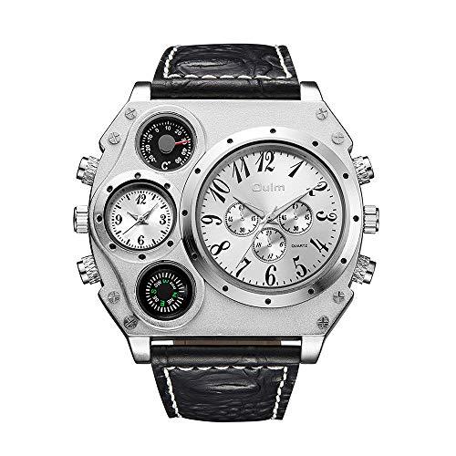 OULM - Reloj de Pulsera para Hombre de Cuarzo, Correa de Piel sintética, con termómetro, brújula, Movimiento de Cuarzo Dual